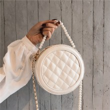 Women Korean Fashion Small Pearl Chain Rhombic Fairy Shoulder Bag