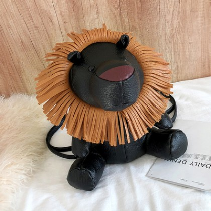 Women Korean Fashion Trend Little Lion Cartoon 2 Way Backpack