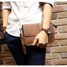 Men Fashion Retro Horse Leather Large Brown Clutch Handbag