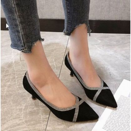 Women  Fashion Fine Shallow Mouth Velvet Pointed Sexy Heeled Shoes