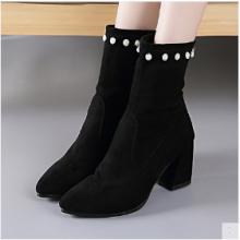 Women  Korean Fashion Thick Heel Wild Ankle Short Tube Velvet Boots
