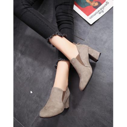 Women  Korean Fashion Thick Heel Wild Low Cut Wild Velvet Boots