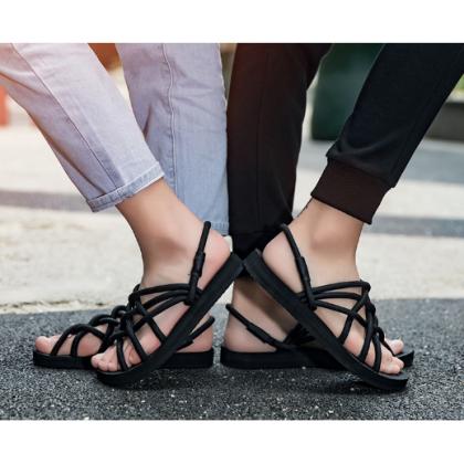 Men Korean Street Fashion Non Slip Sof Bottom Roman Sandals Couples