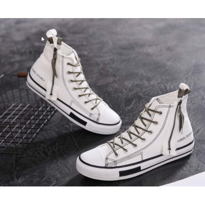 Men Korean Street Fashion Japanese Retro Zipper Canvas Tooling Shoes