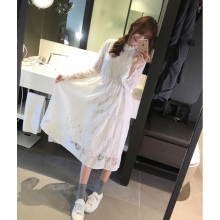 Women Korean Fashion Long Sleeved Long Skirt Lace Dress
