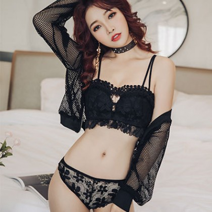 Women Korean Trendy Sexy Lace Tube Top Non Wire  Bra Underwear