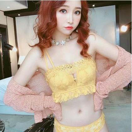 Women Korean Trendy Sexy Lace Tube Top Non Wire  Bra Underwear