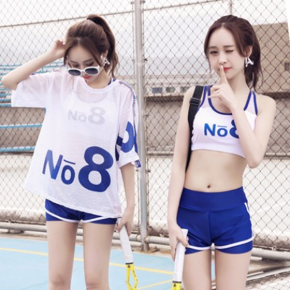 Women Korean Fashion  3 Piece Conservative Sporty Swimwear