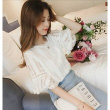 Women Korean Fashion Summer Loose Trumpet Sleeved Chiffon Fairy Top