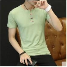 Men Korean Fashion V Neck Slim Short Sleeved Cotton T Shirt