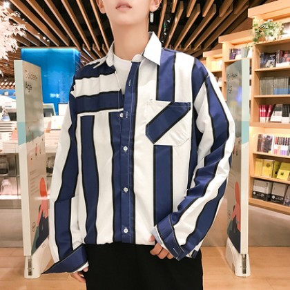 Men Korean Fashion Wild Style Casual Long Sleeved Striped Looses Shirt