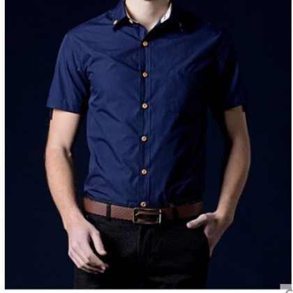 Men Korean Fashion Summer Short Sleeved Solid Color Casual Shirt