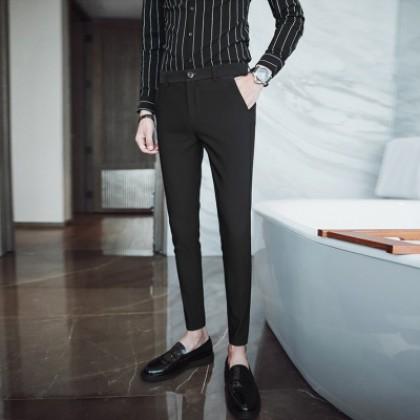 Men Korean Fashion Solid Color Slim Fit Trendy Casual  Trouser