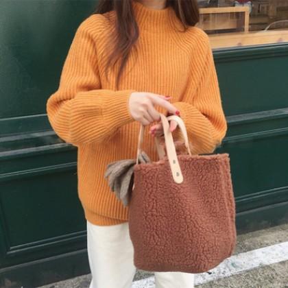 Women Korean Trend Wild Style Small Winter Lamb Hair Simple Shoulder Bag