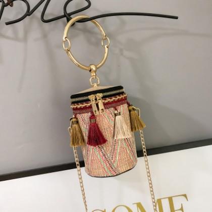 Women Korean Trend Woven Portable Cylinder Chain Shoulder Bag