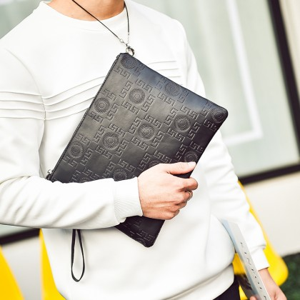 Men Korean Fashion Casual Printed Leather Envelope and Handbag