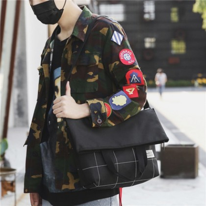 Men Fashion Casual And Portable Diagonal Canvas Sling Bag