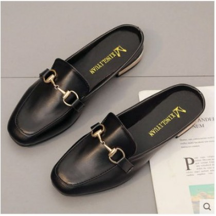 Women Summer Trend Round Head Buckle  Half Slippers Lazy Shoes