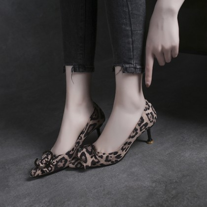 Women Korean Sexy Fashion Suede Leopard Print High Heels Shoes