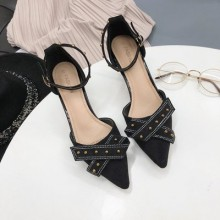Women Korean Sexy Fashion Shallow Mouth Pointed Buckle Suede Shoes