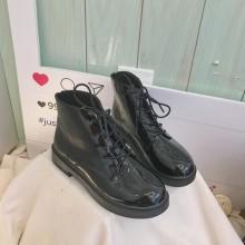 Women Korean Fashion Black Leather Thick Martin Boots