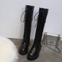 Women Korean Fashion Wild Style Long Leather Lace Up Martin Boots