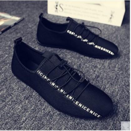 Men Korean Fashion Breathable Lace Up  Cloth Pedal Lazy Peas Shoes