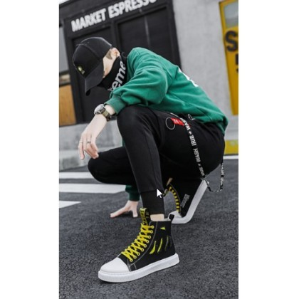 Men Korean Fashion Breathable Hi Top Casual Canvas Sneakers