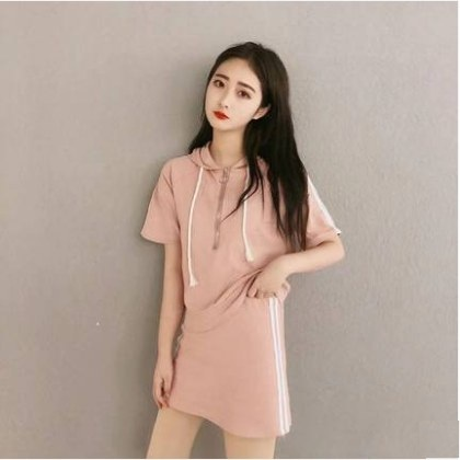Women Korean Fashion Summer Loose 2 Piece Sporty Dress