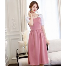 Women Korean Fashion Short Sleeved Trendy Casual Slim Wild Dress