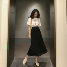 Women Korean Fashion Retro Chic High Waist Pleated Fairy Skirt
