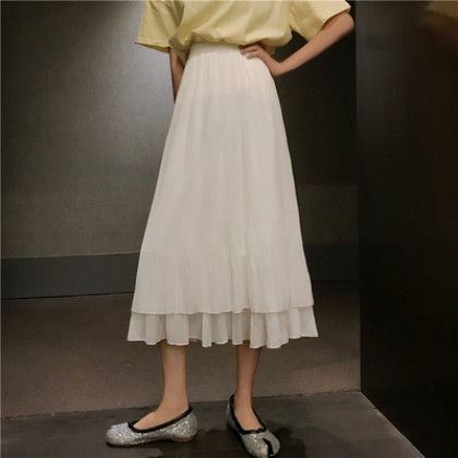 Women Korean Fashion Retro Chic High Waist Pleated Fairy Skirt