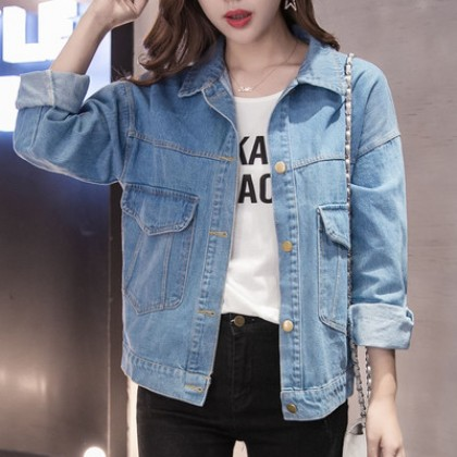 Women Fashion Loose Wild Style Long Sleeved Polo Collar Denim Jacket