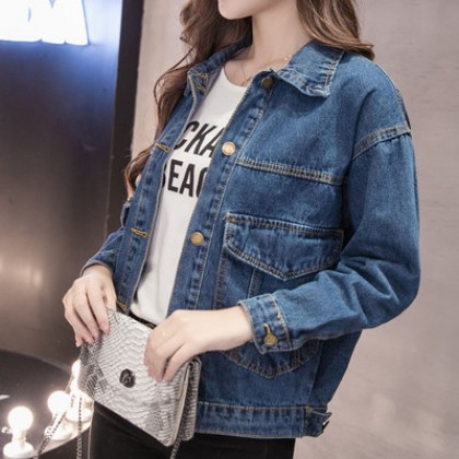 Women Fashion Loose Wild Style Long Sleeved Polo Collar Denim Jacket
