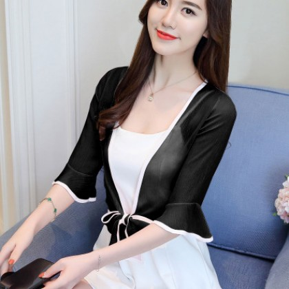 Women Korean Fashion Wild Chiffon Shawl and Cardigan Thin Coat