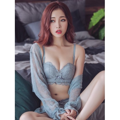 Women Korean Fashion  Sexy Non Wire Lace Side Goddess Underwear Set