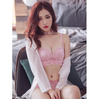 Women Korean Fashion  Sexy Non Wire Lace Side Goddess Underwear Set