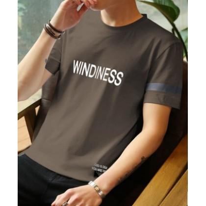 Men Korean Fashion Windiness Round Neck Half Sleeve T Shirt