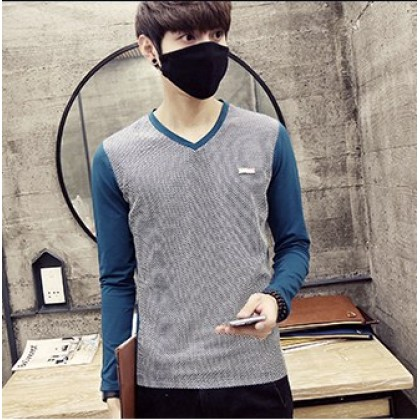 Men Korean Fashion Color Matching V Neck Long Sleeved T Shirt