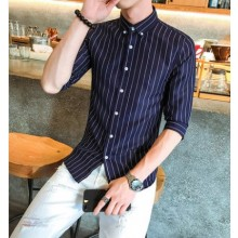 Men Korean Trend  Vertical Stripes Half Sleeved Casual Shirt