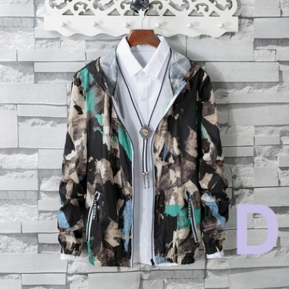Men Korean Trend Camouflage  Hooded Long Sleeve Youth Jacket