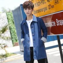Men Korean Trend Slim Fit  Long Sleeve Denim Long Coat