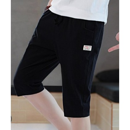 Men Korean Trend Slim Fit  Youth Style Cotton Beach Shorts