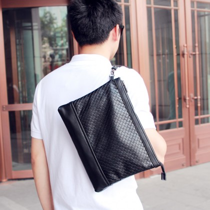 Men Fashion   Large Soft Leather Woven Pattern Clutch and Handbag