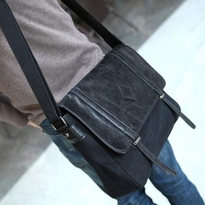 Men Korean Fashion   Casual Messenger Canvas Shoulder Bag