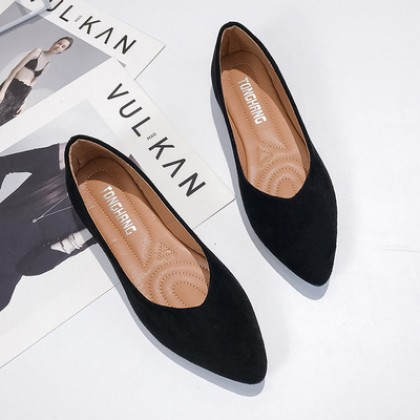 Women Fashion Shallow Mouth Pointed Velvet Scoop Flat Shoes
