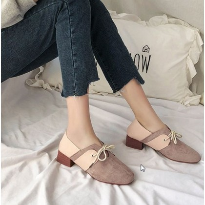 Women Korean Fashion  Thick Heeled British Style Suede Casual Shoes