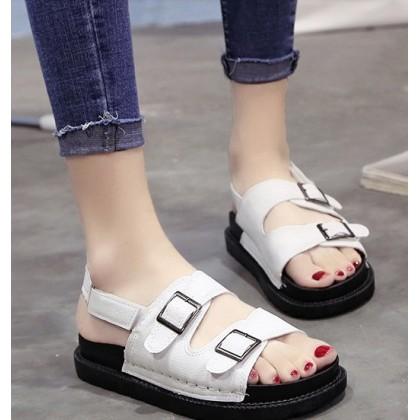 Women Korean Fashion Harajuku Style Roman Suede Flat Sandals