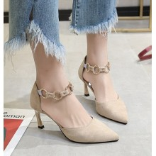 Women Fashion Pointed High Heeled Buckle Velvet Casual Shoes