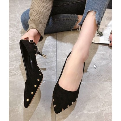 Women Fashion Pointed High Heeled Rivet Suede Pedal Stiletto